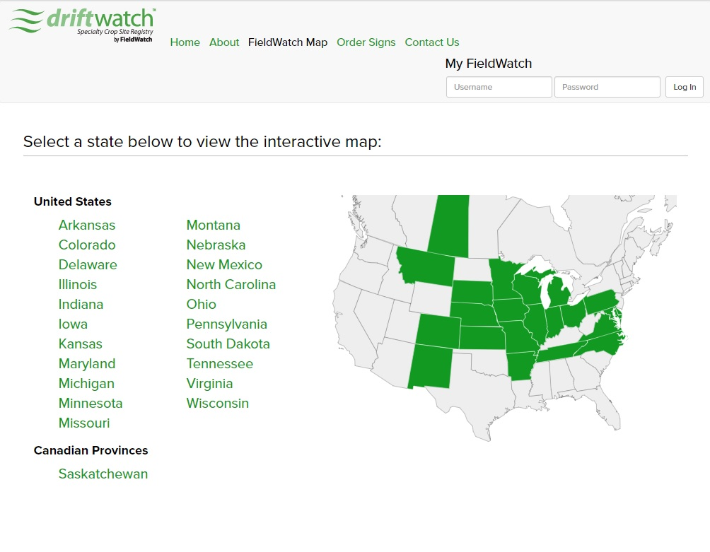 Driftwatch serves most of the midwest US, helping pesticide applicators avoid specialty crops and apiaries.